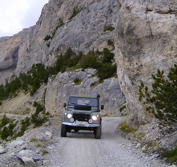 overlanding rig in a canyon, equipped with a winch