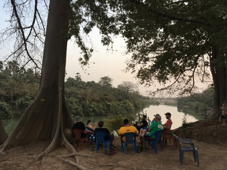 Campsite on the Gambia riverbank