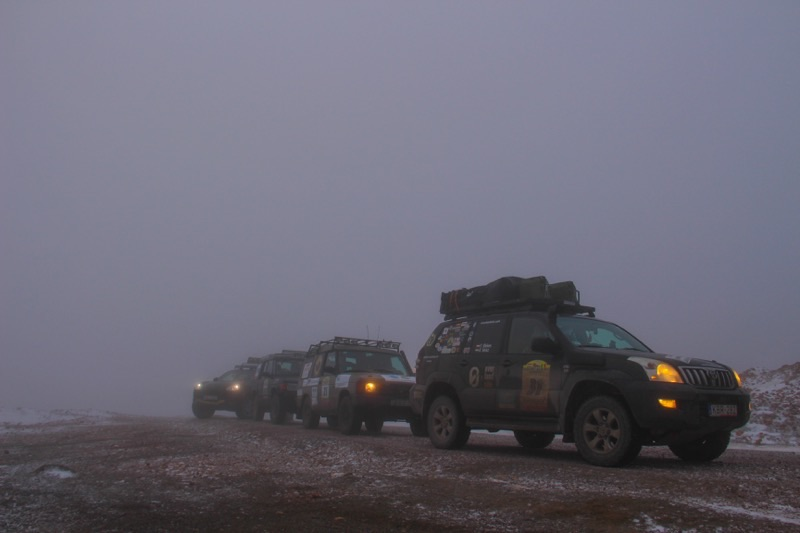 foggy Atlas mountains with Overlanding convoy