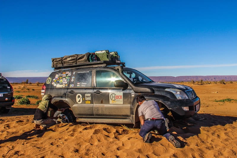 bogged down in the Sahara Desert near Erg Chigaga