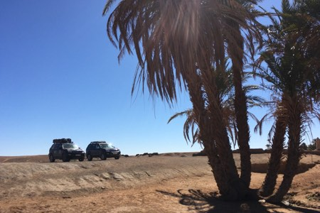 Land cruiser overlanders in Sahara