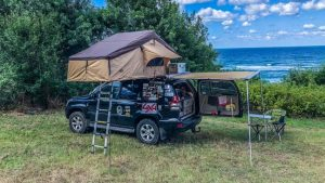 overlanding camp with rooftop tent