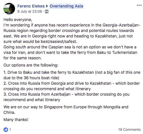 overlandign asia facebook group