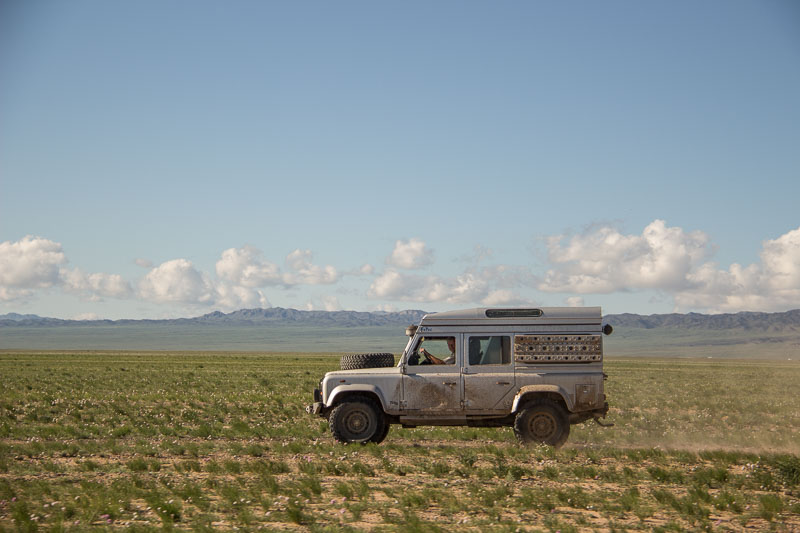 gobi desert with landrover