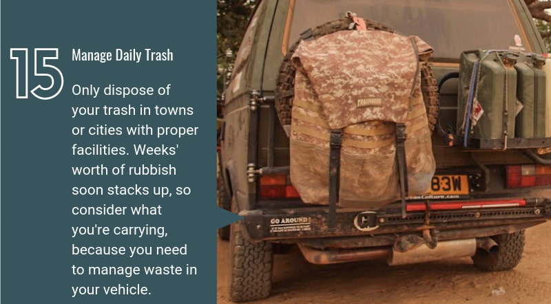 eco friendly overlanding trash