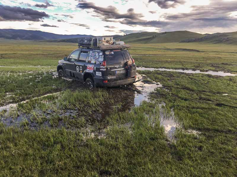 bogged in Mongolia mud driving