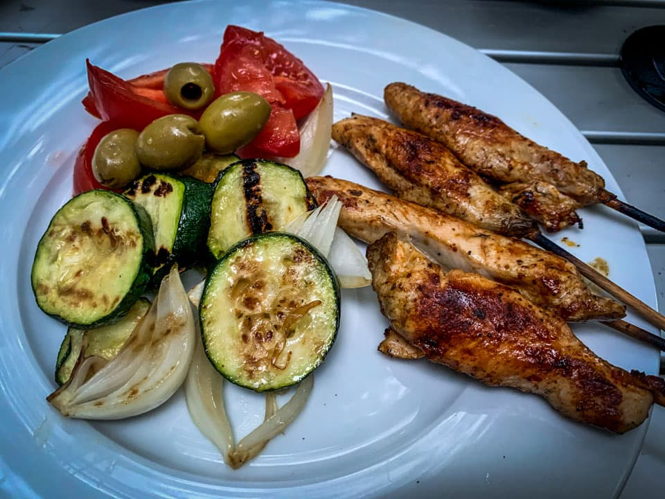 chicken breast grilled on portable grill